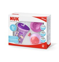 NUK Learn To Drink set (med 3 olika lock) 230 ml, rosa